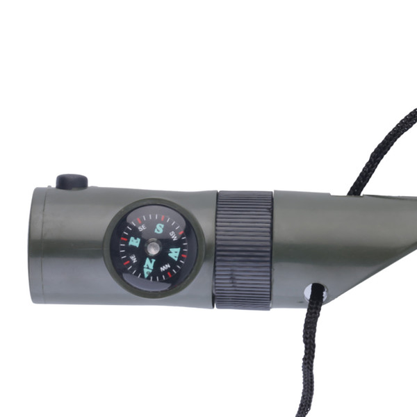 Camping Survival 7 in 1 Whistle Compass Thermometer Magnifier LED Flashlight Fire Outdoor Tool Free Shipping