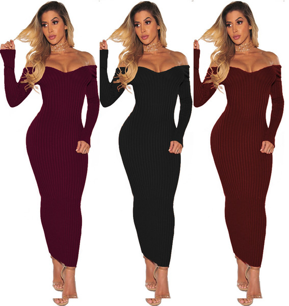 Fashion Plus Size Women Clothing Autumn Dress Long Sleeve Off Shoulder Slash Neck Sexy Bodycon Slim Knitted Sweater Dress Party Clubwear
