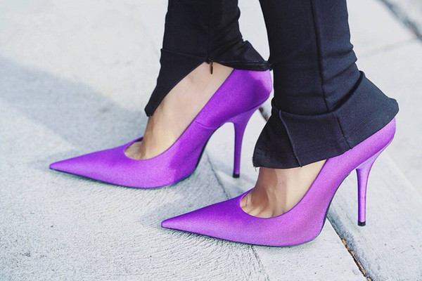 Newest Sleek Stiletto Heels Women Stretchy Satin Pumps Sharp Pointed Toe High Heels Fashion Party Wedding Dress Shoes Woman The Size 35-42