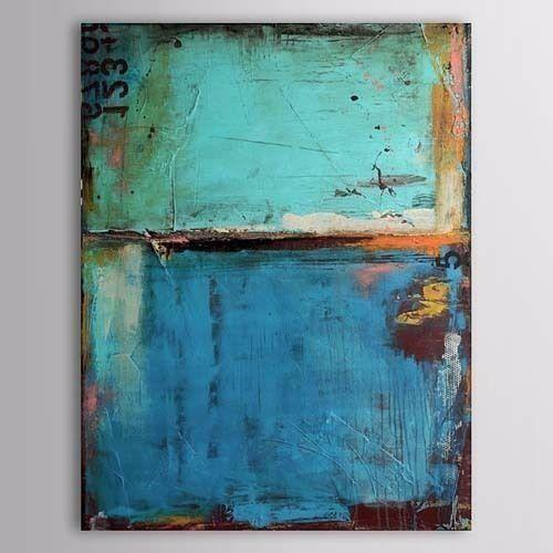 Framed Pure Handpainted Modern Abstract Art oil painting On High Quality Canvas:Vintage Blue Color,Home Wall Decor size can be customized
