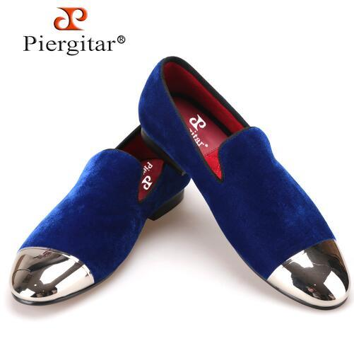 Piergitar black and blue velvet men shoes with gold and sliver toe metal Fashion Prom and banquet men loafers handmade male flat,size38-47