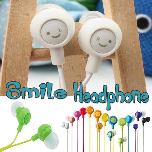 Universal 3.5mm Inserir Sorriso Fones De Ouvido Coloridos Fones De Ouvido Estéreo Fones De Ouvido Compatiable Com SmartPhone Para iphone Samsung ipad MP4 MP3
