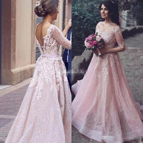 Hot Sale Half Sleeve Formal Evening Dresses for Bride Reception Blush Open Back V Neck Sequined A-Line 2017 Custom Made Arabic Prom Gowns