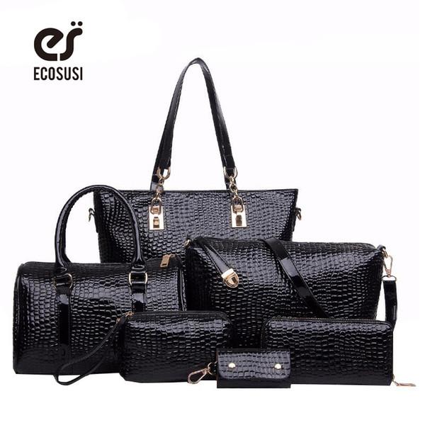Wholesale-6 PCS Set Women Bag Crocodile Pattern Composite Bag Stone Women  Messenger Bags 136f43f9d2