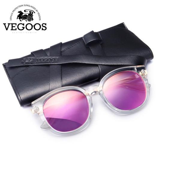 Оптовая продажа-VEGOOS поляризованные женщины круглые модные солнцезащитные очки ПК ретро женщина Polaroid вождения солнцезащитные очки Очки новый размер S #9068S