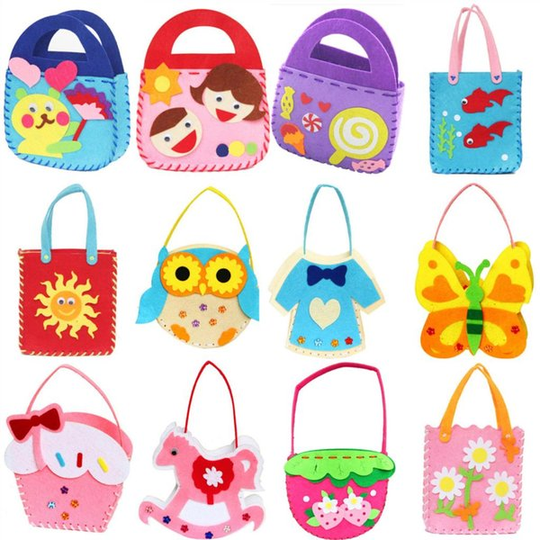 best selling Wholesale-Non-woven Cloth Cartoon Animal Flower Handmade Kids Children DIY Applique Bag Crafts Art Craft Gift Pink Blue Free Shipping