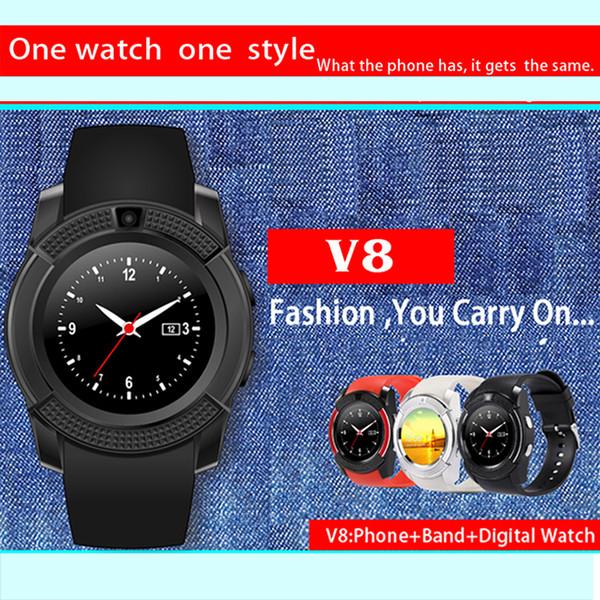 V8 Smart Watch Bluetooth orologi Android con fotocamera 0.3M MTK6261D Smartwatch per telefono Android Micro SIM Carta di TF con pacchetto di vendita al dettaglio