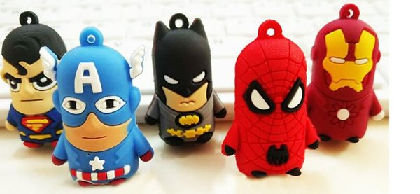 800pcs New arrive Superman Batman Spider-Man cartoon anime boy Keychain sided soft toys for kids 7PCS=1LOT D209