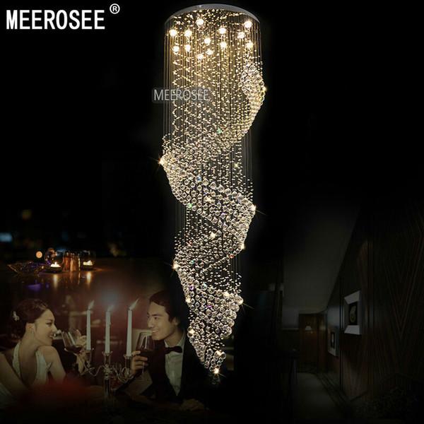 Lange Kristall Kronleuchter Leuchte Für Lobby, Treppenhaus Glanz, Treppen,  Foyer Große Crystal Lmap