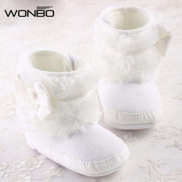 Wholesale- Newborn Baby Girl Bowknot Fleece Snow Boots Booties Kids Princess White Winter Shoes