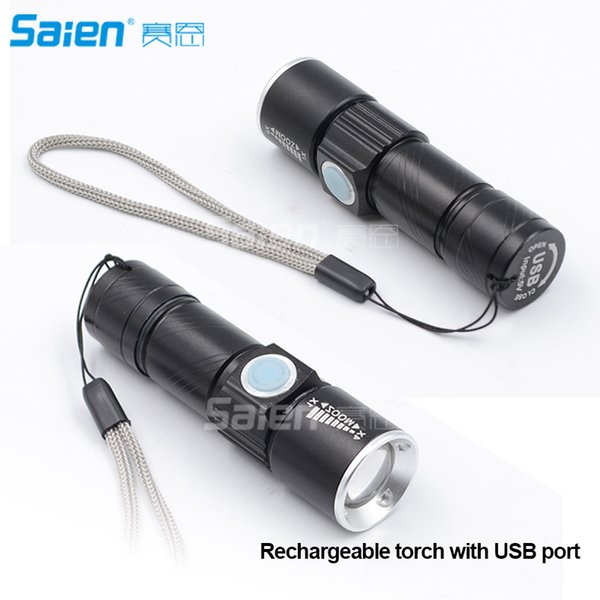 best selling Mini USB Rechargeable LED Flashlight Torch Adjustable Focus Zoom Aluminum Alloy Portable Light Lamp for Cycling, Camping