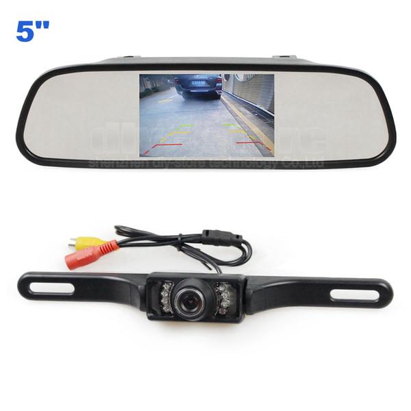 5inch Display Rear View Mirror Monitor Car Monitor + Waterproof Rear View IR Night Vision Car Camera Car Charger