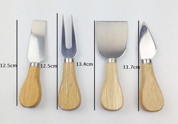 4 pcs / set Fromage Outils Utiles Set Poignée Chêne Couteau Fourchette Pelle Kit Râpes Pour La Coupe Cuisson Chesse Ensembles De Tableaux YA1120