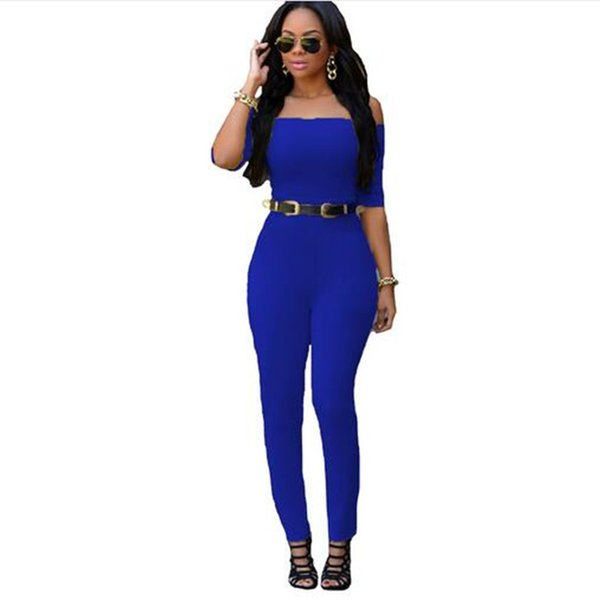 Wholesale- Adogirl Summer One Piece Romper Sexy Half Sleeve Bandage Bodycon Long Jumpsuit With Belt Off The Shoulder Women Bodysuit 4 Color