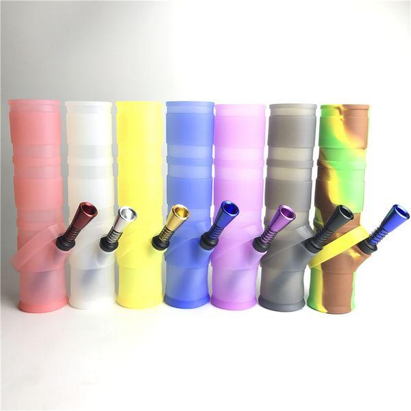 Бонг воды силикона 7,8 дюймов с пластиковым снаряжением силиконового масла фильтра двойника трубы водопровода металла воздушной трубки для курения