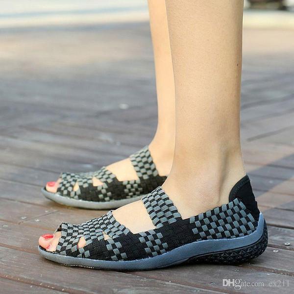 Nice Summer Women Flat Sandals Shoes Women Woven Shoes Flat Shoes Flip Flops Women Multi Colors Sandale Femme Brand 812 Fashion