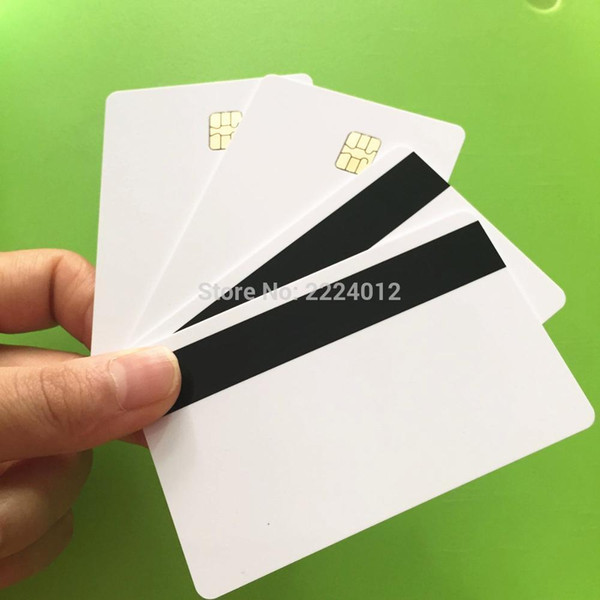 Wholesale-20PCS/Pack SLE4442 Chip With 3track Hi CO Magnetic Stripe Smart Chip IC Card by ID printers Free Shipping