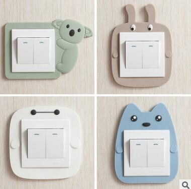 Cartoon Switch with Luminous Cute Cartoon Luminous Light Switch Outlet Wall Sticker Cover Children Room Decor Cat Koala Wall Sticker 877