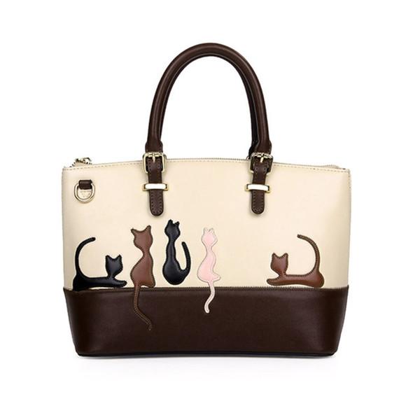 Venta al por mayor- Bolso lindo del animal del gato de las mujeres del bolso de hombro de Crossbody Bolsos de compras con la correa de la correa Sac Lady Clutch Purses