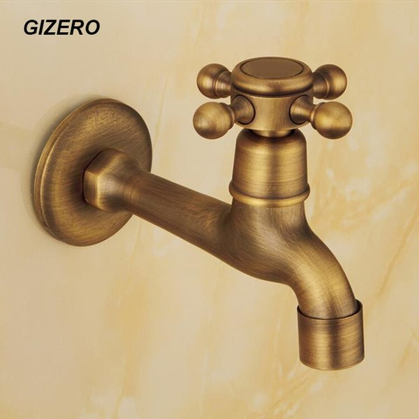 Wholesale- Antique Laundry Faucet Long Spout 100% Solid Brass Washing Machine Taps Copper Retro Classic Wall Mounted ZR200
