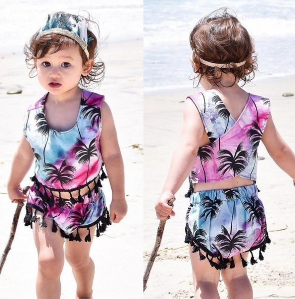 Summer Kids Baby Girls Beach Wear Bathing Suit Top+Shorts 2pcs set Girl Clothes Coco Tree Pattern Tassels Boutique Clothing