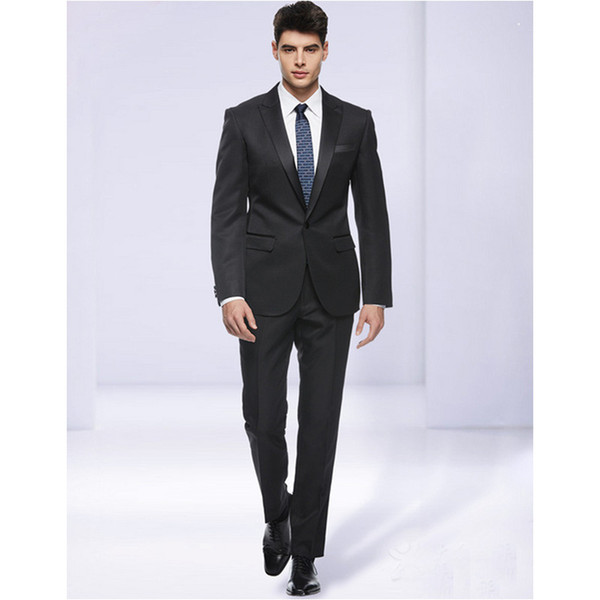 Slim Fit Man Suit High Quality Groom Tuxedos 1 Buttons Groomsman Suit for Man Clothes Custom Made Wedding Suit (Jacket+pants)
