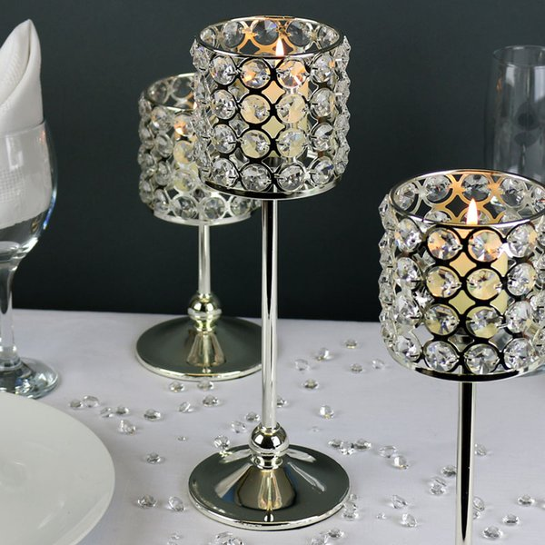 30ps 10 sets / lot 20cm 25cm 30cm silver color crystal beaded luxury candle holder candelabra candlestick for event wedding table decor