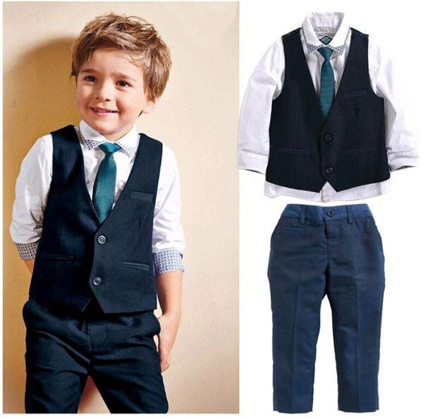f37e1a5c2 Gentleman Inglaterra Estilo Baby Boy Clothes Set Camisa Tie Colete e Calças  Ternos Roupa para Crianças