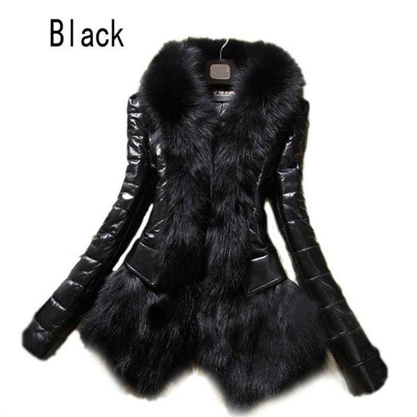 Il rivestimento lungo nero del manicotto della tuta sportiva del tuta sportiva del tuta sportiva di cuoio del cappotto di pelliccia del Faux della pelliccia del Fauxwear all'ingrosso- delle donne di lusso 2016 libera il trasporto