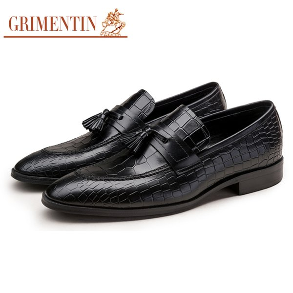 GRIMENTIN Hot sale crocodile grain mens loafers genuine leather tassel slip-on casual male shoes Italian fashion formal business mens shoes