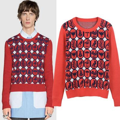Free Shipping 2017 Red Geometric Animal Print Pullover Men Brand Same Style Woolen Men's Sweaters DH307