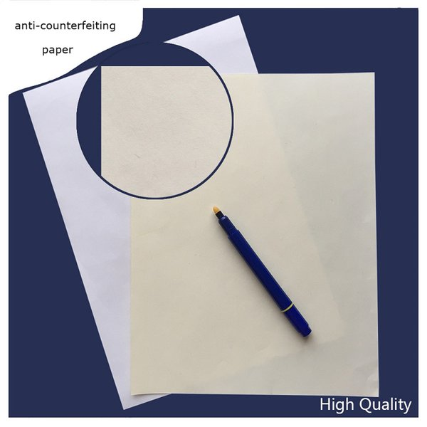 200 sheets anti-counterfeiting printinng paper 75% cotton 25% linen pass counterfeit pen test paper white ivory high quality hot sale in US