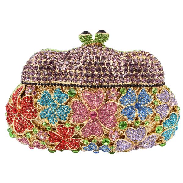 Wholesale- new designer evening bags Golden Unique women clutch bag Hollow Out party purse luxury crystal ladies dinner handbag SC152