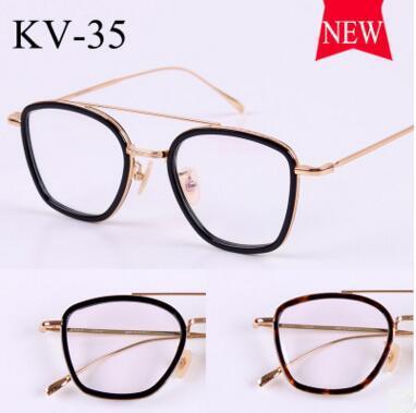 2017 gold glass frame VINTAGE frames KV-35 male retro super light myopia flat using the new framework