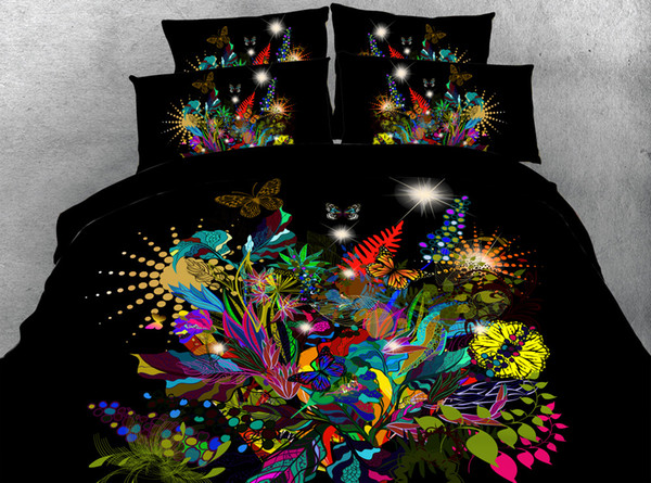 Black Flower Garden 3D Printed Bedding Sets Twin Full Queen King Size Duvet Cover Set Pillow Shams Comforter Butterfly Galaxy Lotus Animal