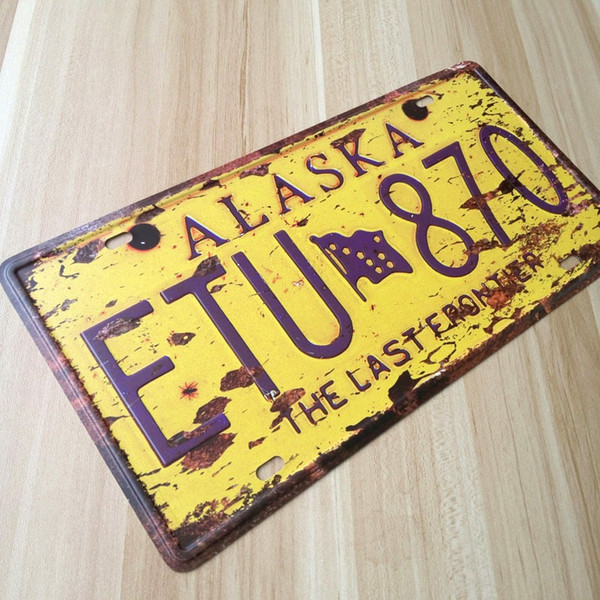 Free ship ALASKA Plate Vintage tin sign metal painting Car USA License Plate bar pub cafe retro home decoration wall plaque
