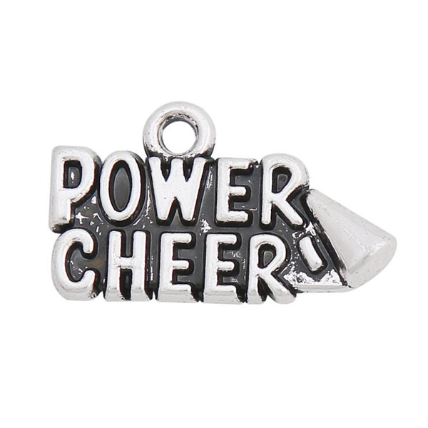 Alloy Vintage Power Cheer Message Charm For Sport Team Cheerleader Spirit 50pcs AAC796