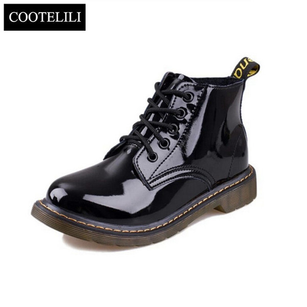 Wholesale-Plus Size40 Cow Muscle Heel Pig Patent Leather Boots Women School Style Lace Up Shoes For Girls Red Black Motorcycle Ankle Boots