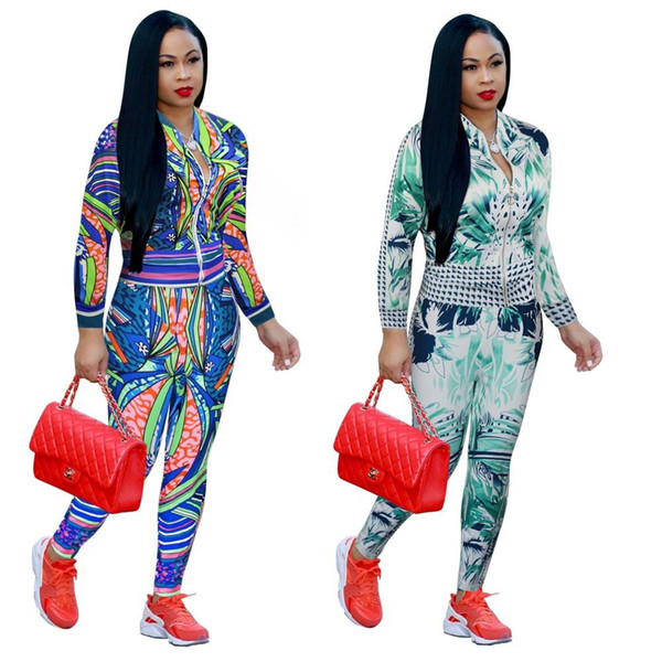 Ladies Winter Autumn Casual Floral Flower Print Two-piece Outfits Long Sleeved Jacket + Long Pant Womens Fall Sweatsuits