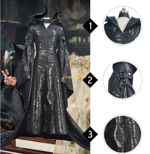 Maleficent Costume Maleficent Cosplay Maleficent Dress Halloween Costume For Adult Women Girls With Headwear Black Long Dress Group Girls Halloween
