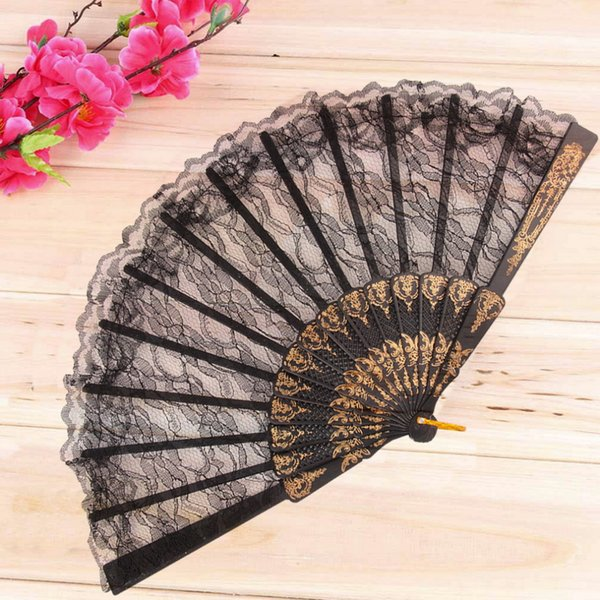 top popular Vintage Fancy Dress Costume Chinese Costume Party Wedding Dancing Folding Lace Hand Fan black 2020