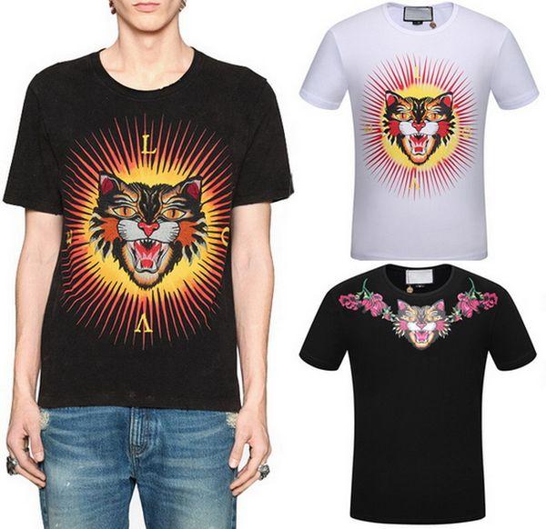 Baskılı Kızgın Kedi Moda T-Shirt Adam Shortsleeve Nervürlü O Boyun Tee Pamuk Üst Gündelik Giyim Erkekler