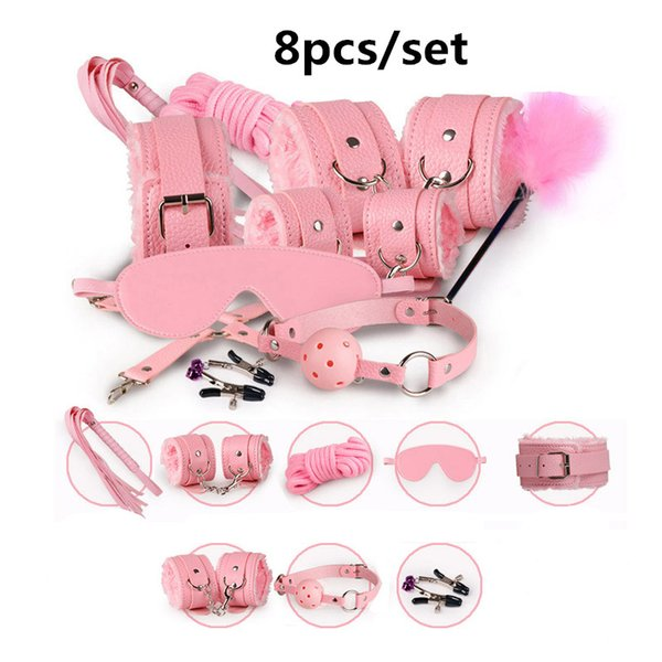 New Sexy SM 8Pcs/Set Kit Fetish Sex Bondage Sex Toys for Couples, Nipple Clamps Foot Handcuff Ball Gag Whip Collar Eye mask