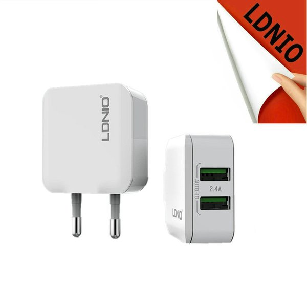 LDNIO 2 port 5V 2.4A USB home wall Charger EU socket auto detect required current for iPhone iPad Samsung power bank xiaomi
