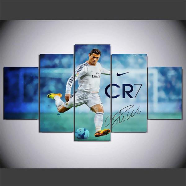 Real Madrid Ronaldo Fútbol Stella del calcio, 5 pezzi Home Decor HD Stampato arte moderna pittura su tela (senza cornice / con cornice)