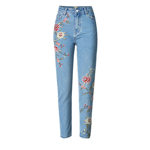 Wholesale- LOLEN Nine Points 3D Embroidered Jeans High Waist Fashion Slim Pants for Women