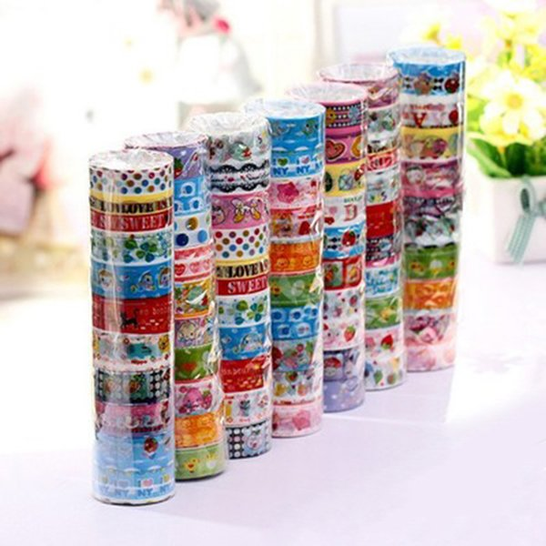 best selling 2016 Colorful Sticky Washi Masking Paper Tape Creative Stationery DIY Grid Stickers Wholesale