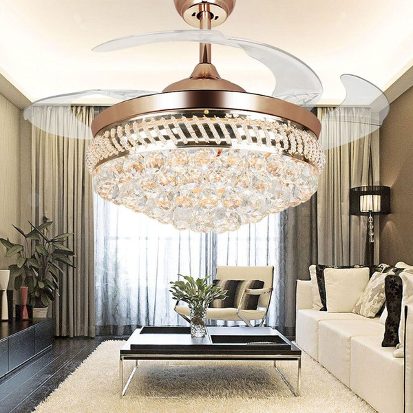 42-inch Modern LED Crystal Ceiling Fans 42inch Remote Control Chandelier Ceiling Fan Light with 4 Invisible Retractable Blades Pendant Lamp