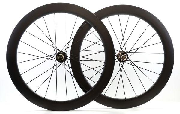 Ruote in fibra di carbonio 700C Ruote del freno a disco in profondità 60mm Ruote da 25mm con ruote da bici da strada con attacco 791/792