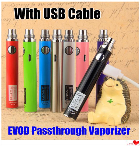 Evod Micro USB Passthrough EVOD 기화기 UGO-V 통과 ecigarette 650 900 1100 mAh USB 케이블이있는 BottomTop 충전 배터리 Vape pen